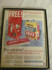 Vintage Johnson's Glo-Coat Floor Wax Magazine Ad - May 1954 - framed