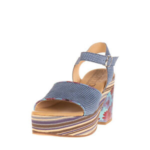 RRP €220 EBARRITO Leather Ankle Strap Sandals EU38 UK5 US8 Floral Made in Italy