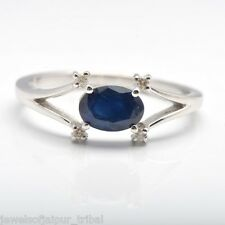 Natural Oval Shaped Blue Sapphire Diamond 925 Sterling Silver Ring Jewelry UK