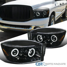 For Pearl Black Dodge 06-09 Ram 1500 2500 3500 Clear Halo Projector Headlights