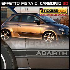 Adesivi FIAT 500 ABARTH in CARBONIO fasce FIAT 500 CARBON LOOK + spatola OMAGGIO