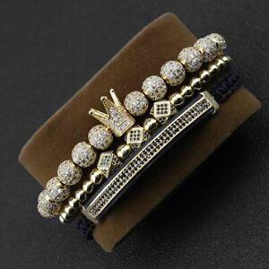 3Pcs/set Luxury Gold Bracelet Set Hip Hop Mens Jewelry CZ Ball Crown Bangle Gift