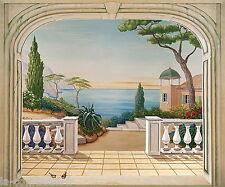 TROMPE L'ŒIL PAYSAGE méditerranée italienne, avec pin parasol. MARTINE BELMON