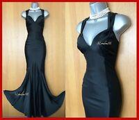 UK 10 KAREN MILLEN Black Silky Satin Strappy Long Maxi Ball Gown Cocktail Dress