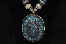 NATIVE AMERICAN STERLING SILVER NECKLACE - 24 INCH -  TURQUOISE STONE PENDANT