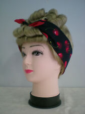 Rockabilly Head Scarf/Tie up/Pin up/Up do Wrap Reversible 50s Cherries Black/Red