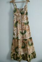 Principles Maxi Dress Size 10 Strappy Cream Green Coffee Colours size 10 Tiered