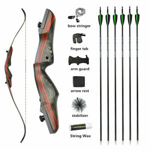 """Archery 62"""" Takedown Recurve Bow 20-50lbs Hunting 17"""" Riser Wooden Carbon Arrows"""