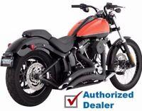 New Black Vance & Hines Big Radius Exhaust Pipes System 1986-2017 Harley Softail