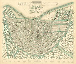 AMSTERDAM. Town city map plan. Inset the environs of Amsterdam. SDUK 1844