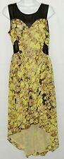 Gianni Bini Women's Floral Dress Sz M Yellow Brown Black Gray Sheer High Low