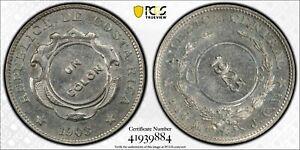 COSTA RICA SILVER 1 COLON UNC COIN 1923 / 1903 YEAR KM#164 COUNTERSTAMPED PCGS