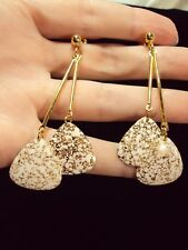 vintage color chimes triangle speckled ivory gold dangle drop stud earrings Avon