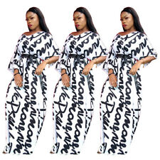 Women V Neck Long Sleeves Letter Print Casual Club Party Cocktail Long Dress