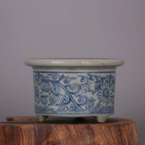 "3.5"" Chinese Blue White Porcelain Entangled branches lotus Tripod incense burner"