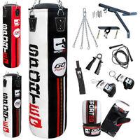 New Sporteq 3ft 4ft 5ft  Filled Heavy Boxing Punch Bag Kit Set Boxed Pack