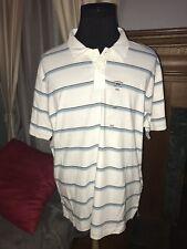 NWoT Canyon River Blues Mens Polo Shirt Cotton White Striped 2XL