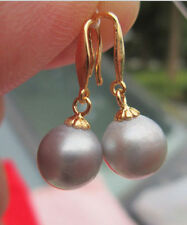 Genuine 10-11MM AAA++ gray south sea pearl earrings 14K GOLD