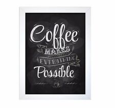NEW Coffee Kitchen WALL ART Plaque Framed Picture Black White 40 x 30cm Retro