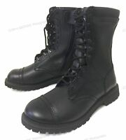 Men's Leather Tactical Boots Black Combat Military Army Work Shoes Zipper, Sizes