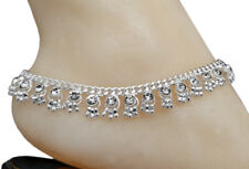CZWS1- Bollywood Designer CZ Silver Tone Indian Anklets Payal - 1 Pair ( 2 Pcs )