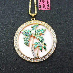 Charm AB Green Crystal Pearl Coconut Tree Betsey Johnson Pendant Chain Necklace