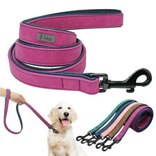 Soft Velvet Leather Padded Dog Leash 4ft Small Medium Large Dogs Walking Lead