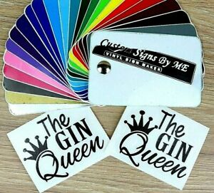 2x Personalised Gin Queen Glass Sticker Custom Lettering Vinyl Decal Party Gift