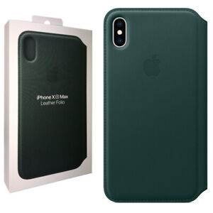 Official Apple Leather Folio Flip Case for iPhone XS Max - Forest Green