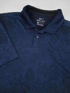 Mens Medium Nike Golf Breathe Vapor Polo Dri Fit blue floral shirt