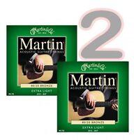 2 x Set / CONFEZIONI CORDE PER CHITARRA ACUSTICA MARTIN extra leggero 10 - 47