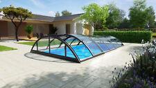Poolüberdachung Schwimmbecken Überdachung Klasik Clear B PRO anthrazit Höhe 1m