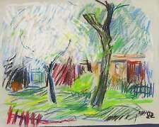 WERNER HASELHUHN - BLÜHENDE OBSTBÄUME IM GARTEN - Pastellkreide 1992