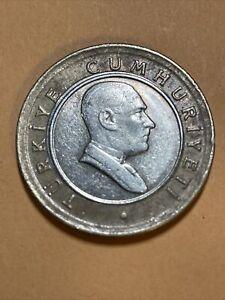 Turkey 50 Kurus Current Circulated Bimetallic Coin Dated 2005
