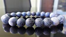 "Genuine Crackled Black AGATE bead bracelet for MEN on Stretch 10mm - 8"" inch AAA"