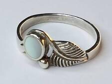 Antiker Jugendstil Art Deco Silber Ring Silberring Perlmutt Blatt verziert Gr 56