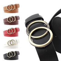 Women Girls Leather Belt Round Ring Metal Double Buckle Belt Waistband Be RA