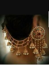 Stunning Gold and Multi Stone Indian Ear Cover Chain sahara Jhumka Earrings pair