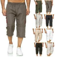 Mens 2 In 1 Long 3/4 Zip Off Shorts Knee Length Cargo Combat Pants Work Walking
