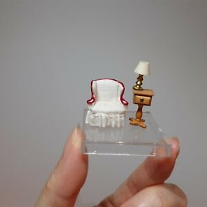 """10347 Dollhouse miniature 1:48 scale chair & side table,by S. Hoeltge 1985, 3/4"""""""