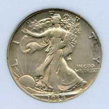 1938-D 50C Walking Liberty Silver Half Dollar. Almost Uncirculated. Lot #2573