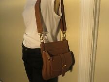 ROOT LEATHER BAG , SIDE SADDLE BRIDLE, TAN BRONZE CROSS BODY,  DUST BAG, NWT