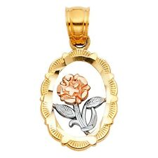 Oval Diamond Cut Frame Real 14k 3 Tone Solid Gold Flower Charm Necklace Pendant