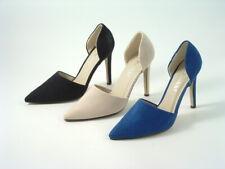 Señoras Imitación Gamuza Abierta Cara Fiesta Baile de graduación Moda Zapatos Taco Alto Tribunal Tamaños
