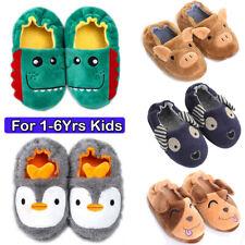 Toddler Baby Winter Slippers Boys Kids Plush Warm Shoes Anti-slip Home 1-6Yrs