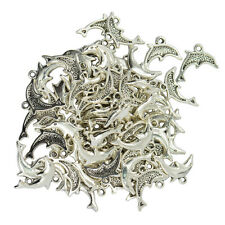 50pcs Nautical Dolphin Shape Alloy Pendants Charms for Jewelry Making Craft