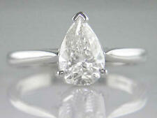 Diamond Solitaire Ring 1.51ct Certificated H VS2 Pear Shape and 18ct White Gold