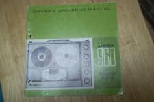 Owner /Operation Manual for the Ampex 960 Reel RTR Tape Recorder Player