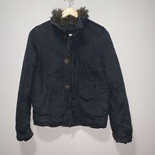 Abercrombie boys Adirondack Jacket Faux Fur Lining Size Medium Black