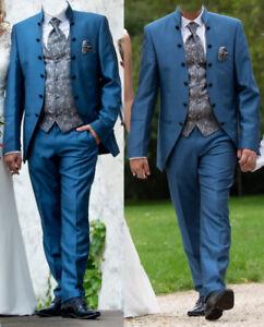 Hochzeitsanzug blau-Komplettset Wilvorst Größe 52,Hose,Hemd,Jacke,Weste,Plastron